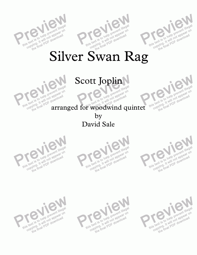 page one of Silver Swan Rag (wind quintet)
