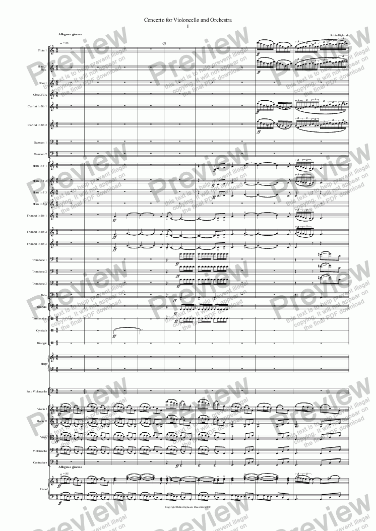 page one of Concerto for Violoncello and Orchestra