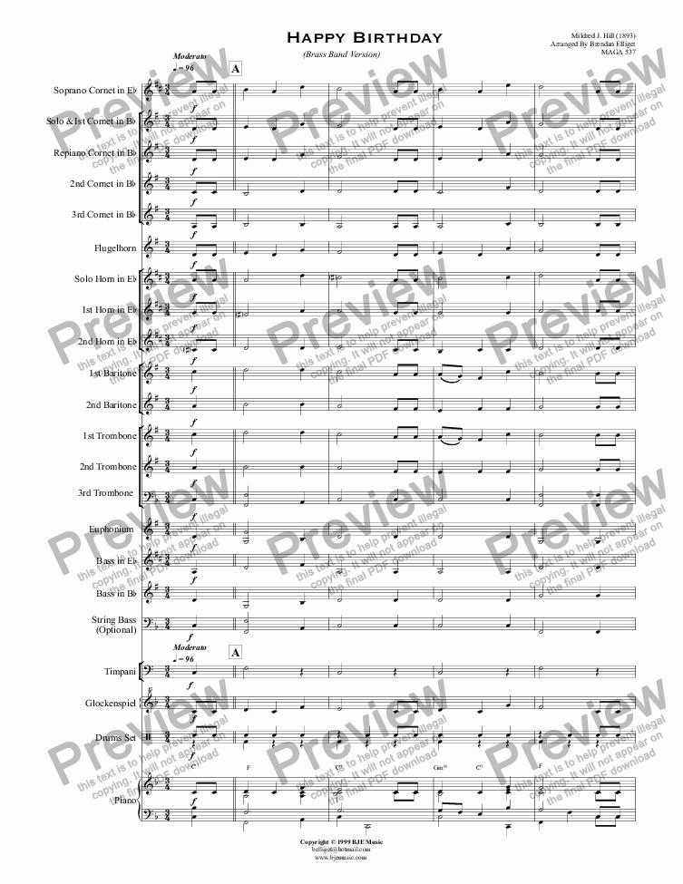 Happy Birthday (Brass Band Version) for Brass band by Mildred J  Hill  (1893) Arranged By Brendan Elliget MAGA 537 - Sheet Music PDF file to  download