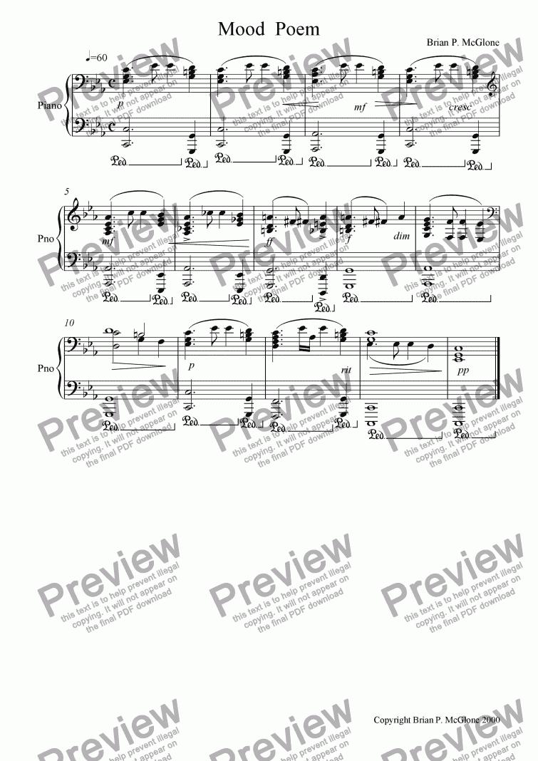 Mood Poem - Download Sheet Music PDF file