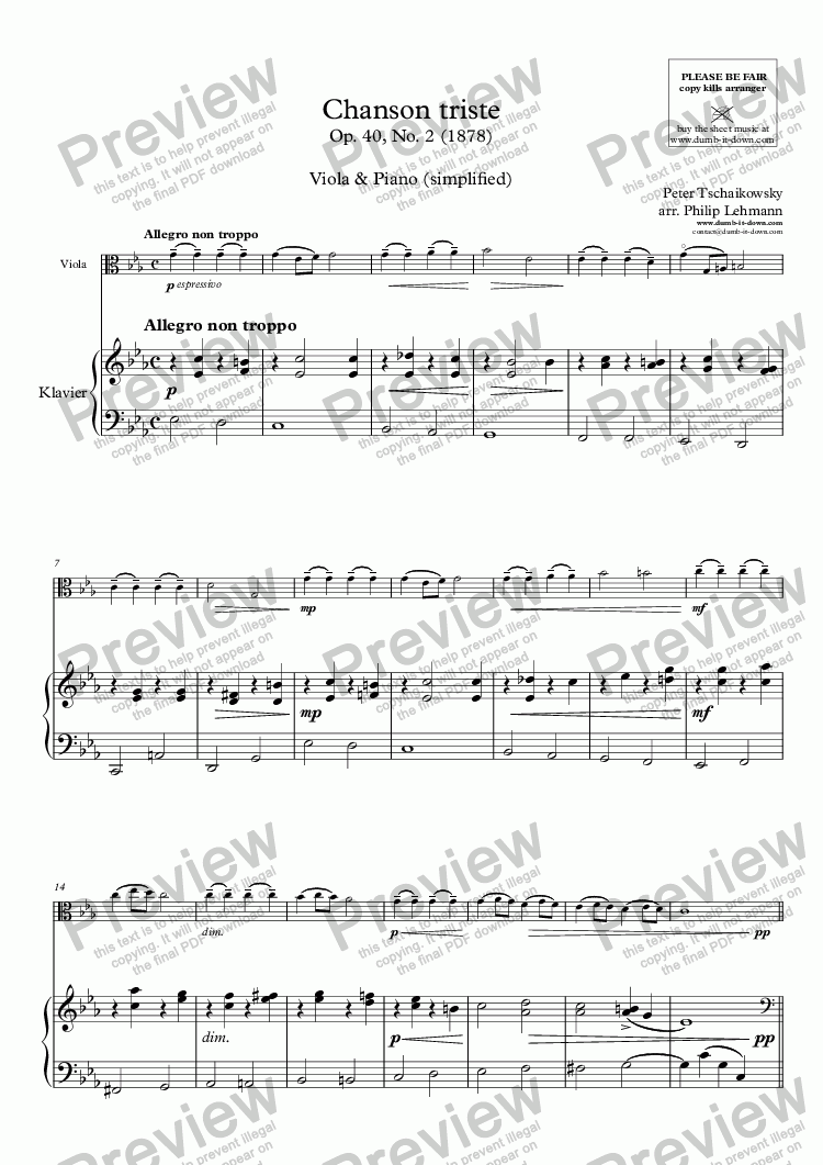 page one of Tschaikowski, P. - Chanson triste - for Viola (orig.) & Piano (simplified)ASALTTEXT