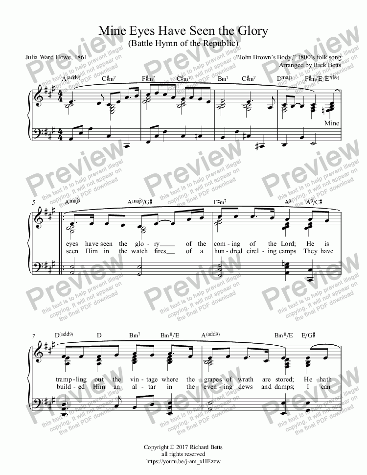 page one of Mine Eyes Have Seen the Glory (Battle Hymn of the Republic / Glory! Glory! Hallelujah) - Piano Solo