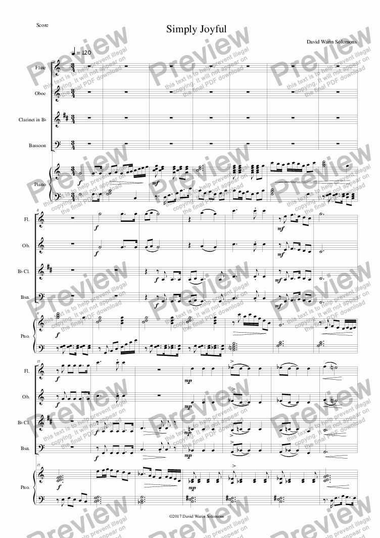 page one of Simply Joyful (wind quartet and piano) SCORE and PARTS