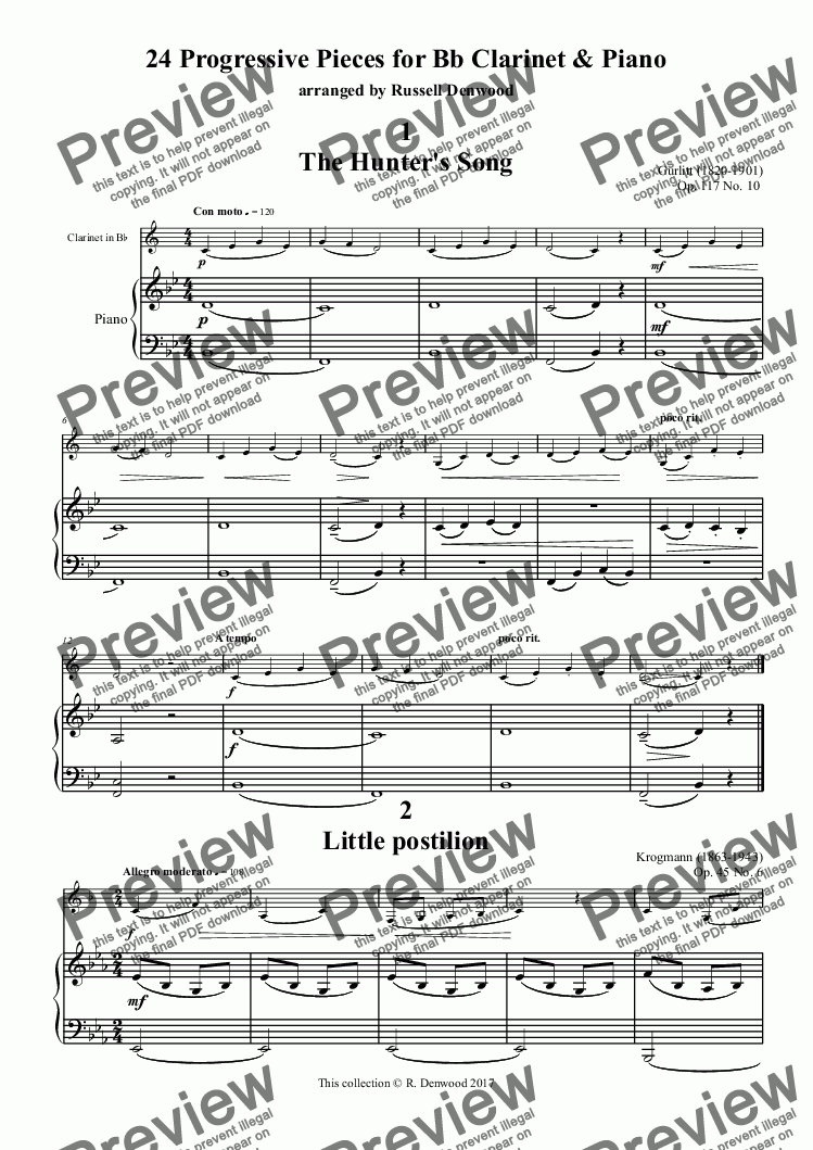 page one of Denwood - 24 Progressive Pieces for Bb Clarinet & Piano