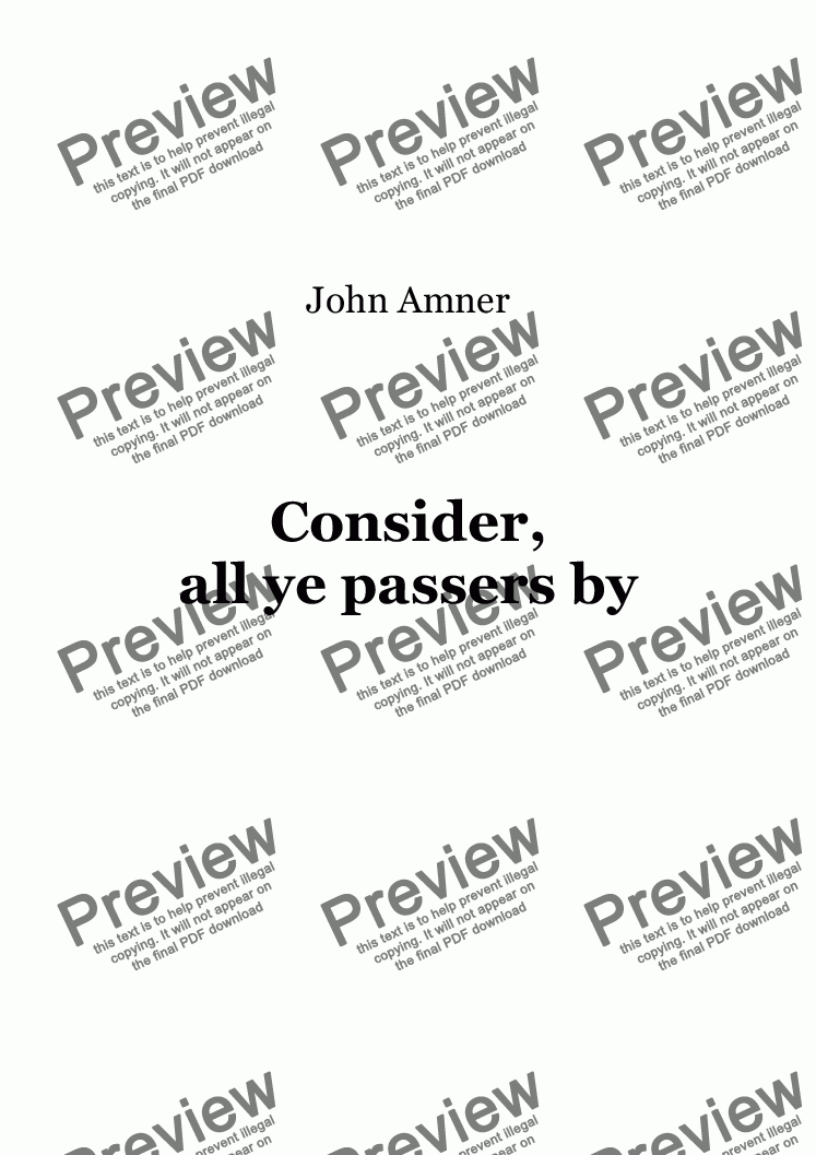 page one of Consider, all ye passers by