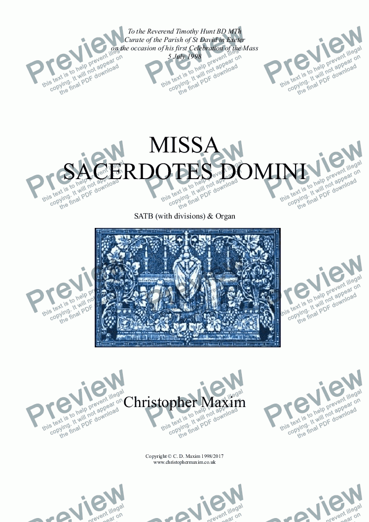 page one of Missa Sacerdotes Domini (Latin Words)