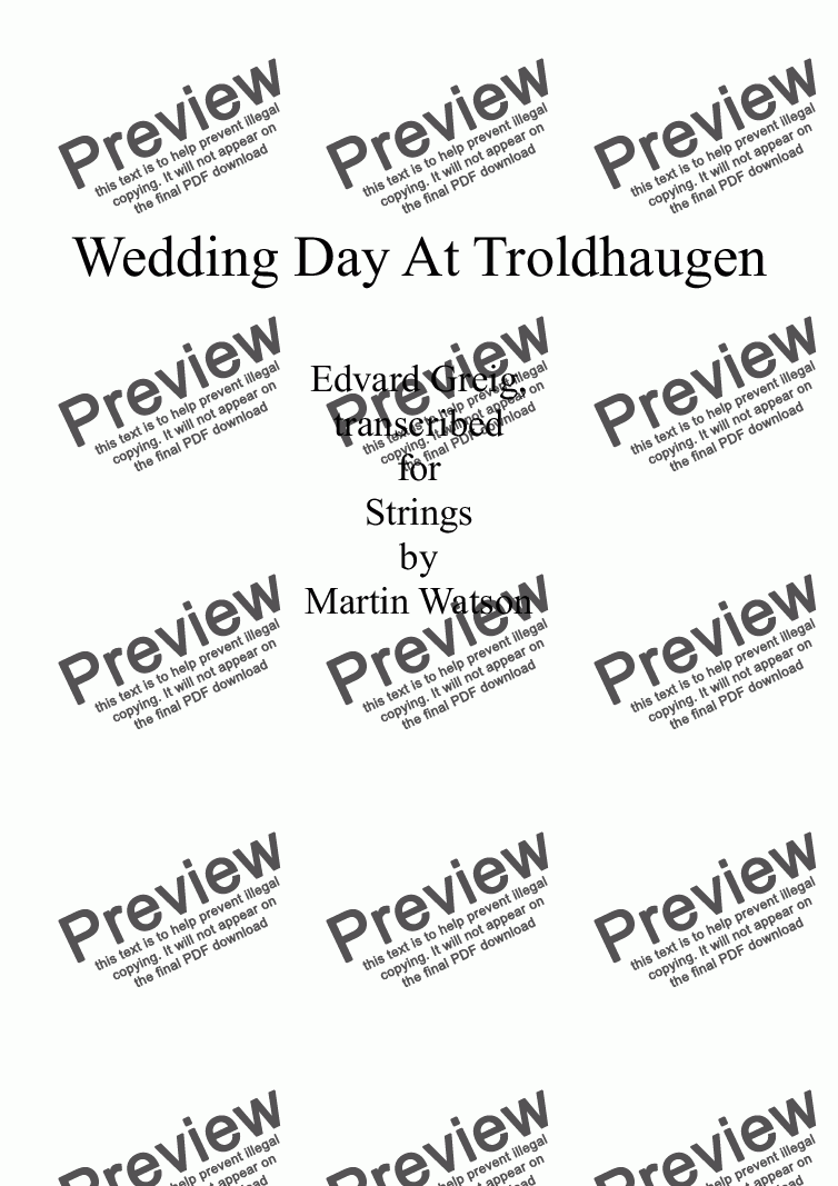 page one of Wedding Day At Troldhaugen for String Quartet/String OrchestraASALTTEXT
