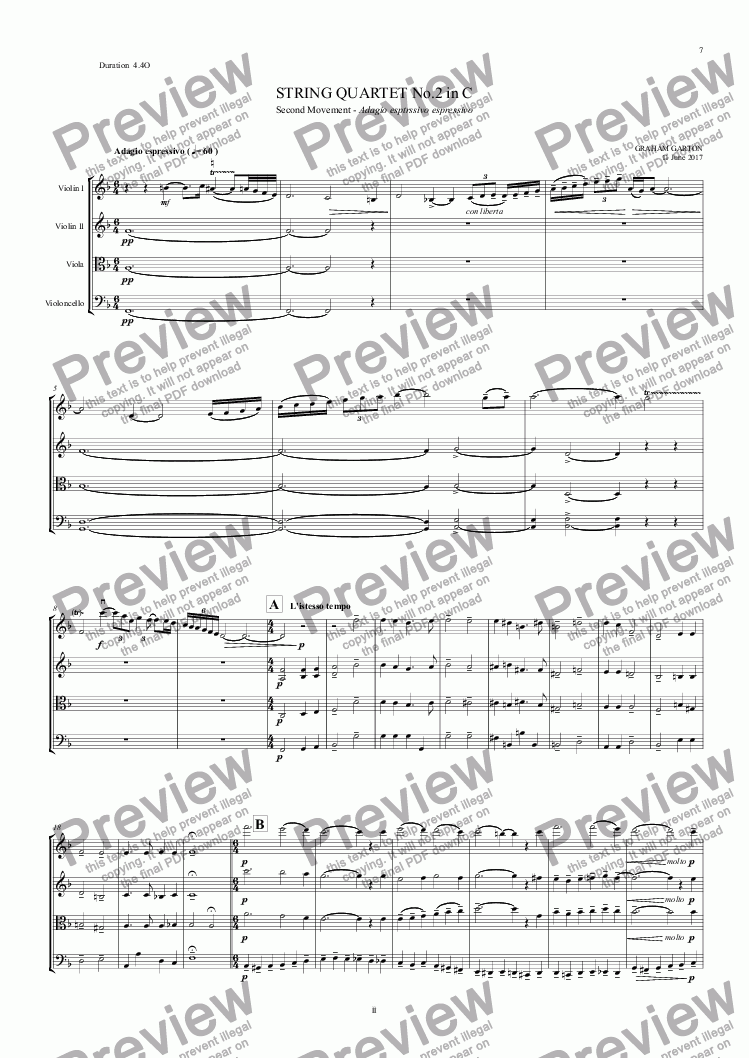 page one of STRING QUARTET No.2 in C (14 Minutes) 2nd Movement 4 pages 4.40