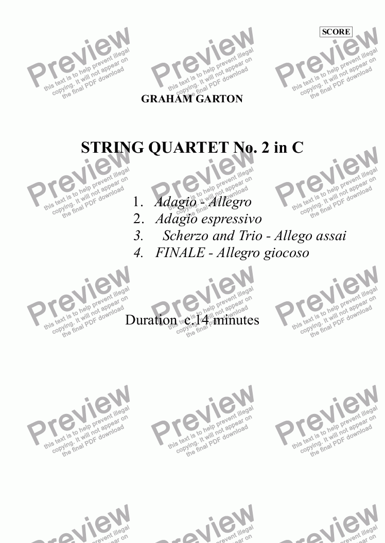 page one of STRING QUARTET No.2 IN C - SCORE (Duration 14 Minutes))