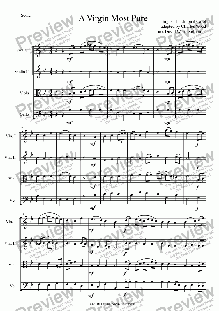 page one of A Virgin most pure for string quartetASALTTEXT
