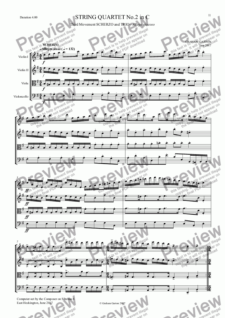 page one of STRING QUARTET No.2 in C - (14 Minutes)3rd Mvt. Scherzo & Trio (Duration 4.00)