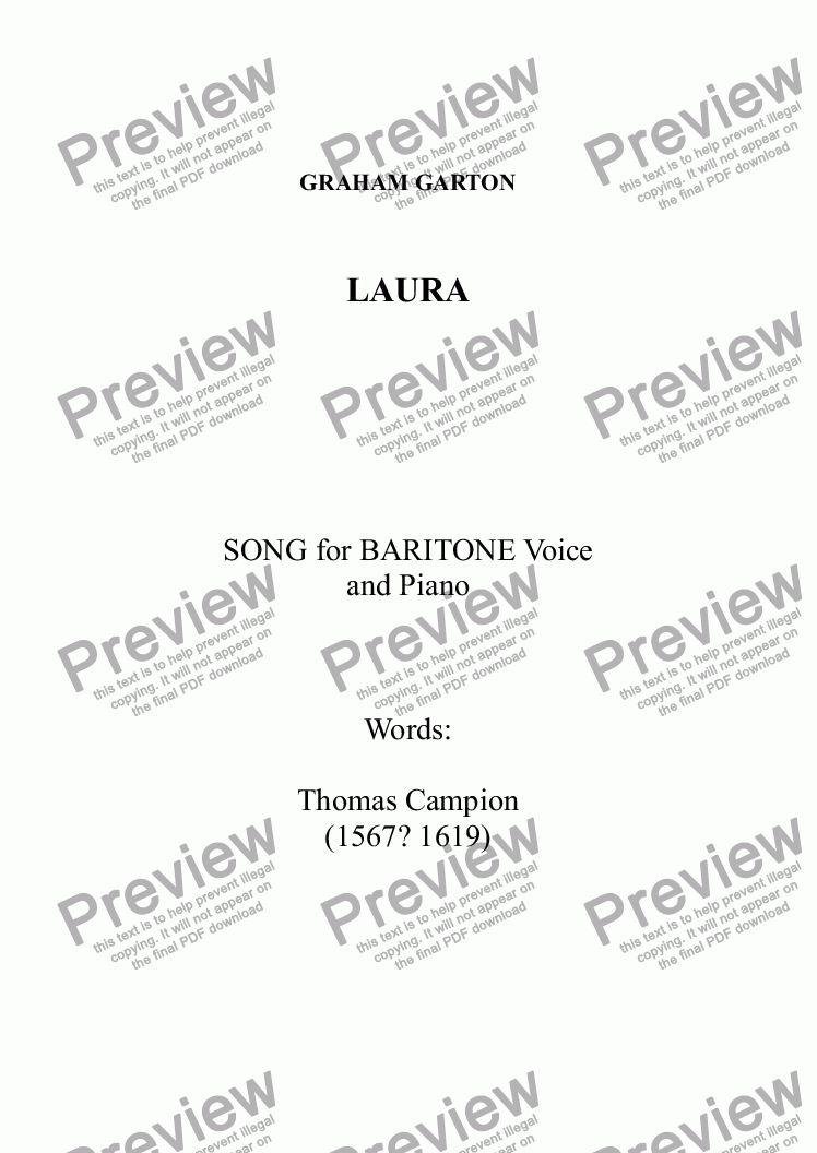 page one of SONG - 'LAURA' for Baritone Voice and Piano. Words: Thomas Campion (1567?-1619)