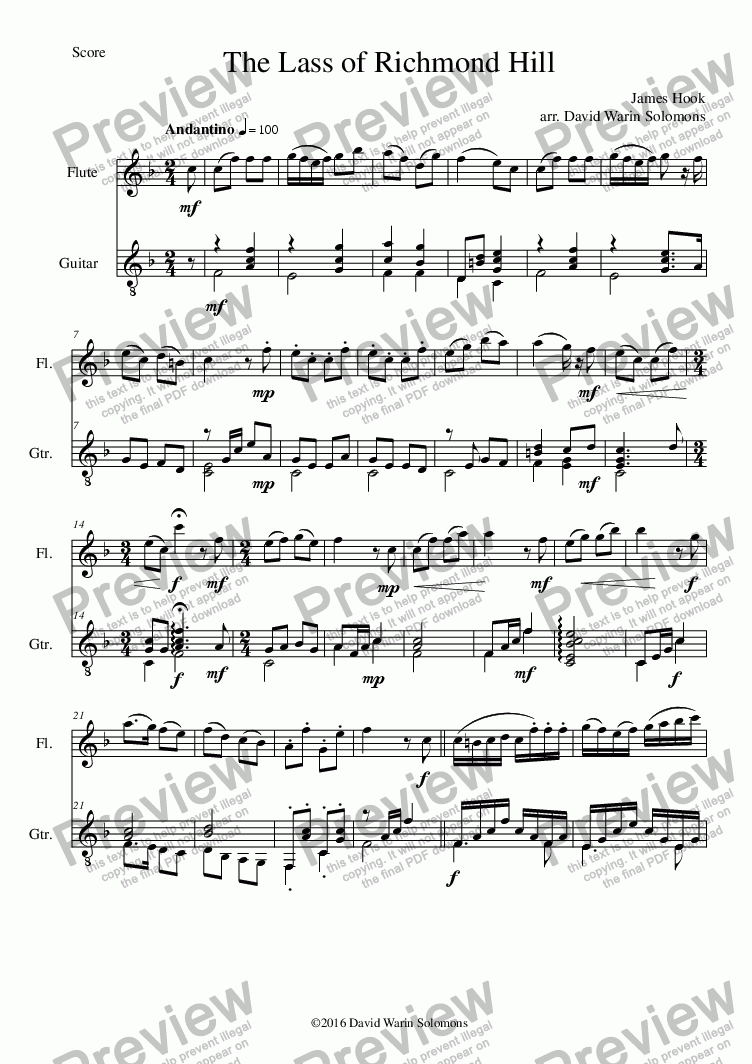 page one of Lass of Richmond Hill (flute and guitar - with variations)