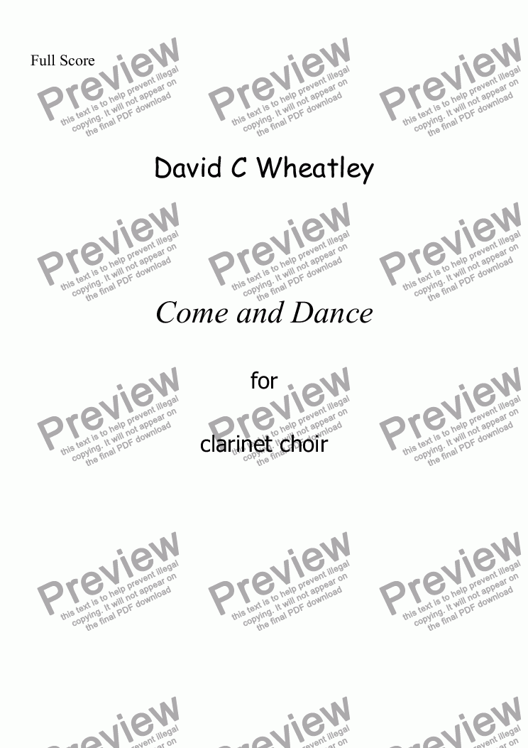 page one of Come and Dance for clarinet choir by David WheatleyASALTTEXT