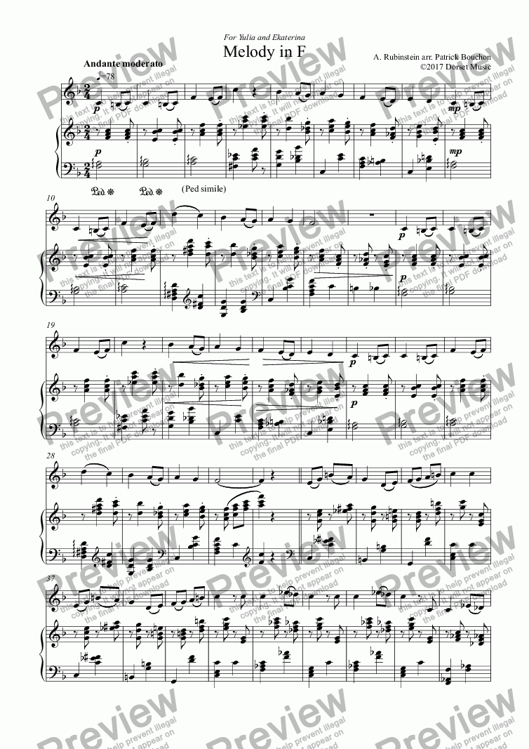 page one of Rubinstein - Melody in F