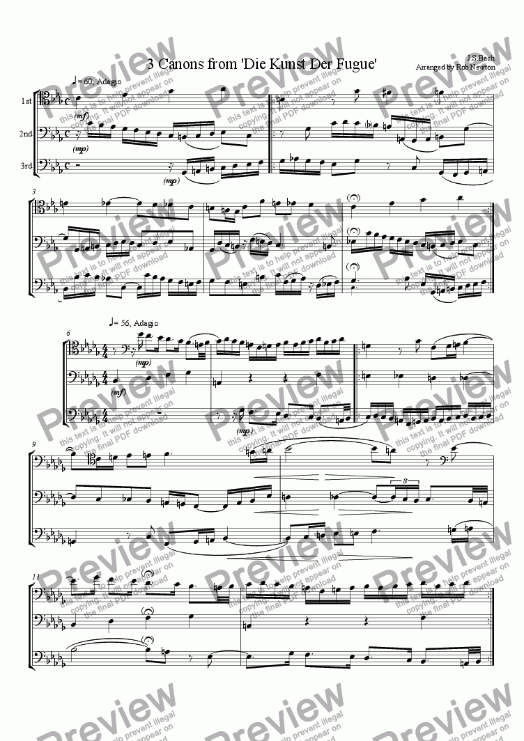page one of 3 Canons from 'A Musical Offering'