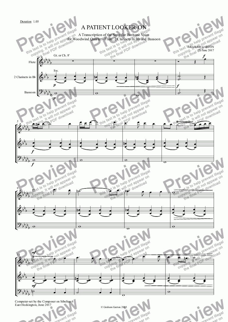 page one of INSTRUMENTAL - 'A PATIENT LOOKER-ON' Transcription of the Song for Baritone Voice and Piano for Woodwind Quartet - Flute 2 Clarinet in Bb and Bassoon