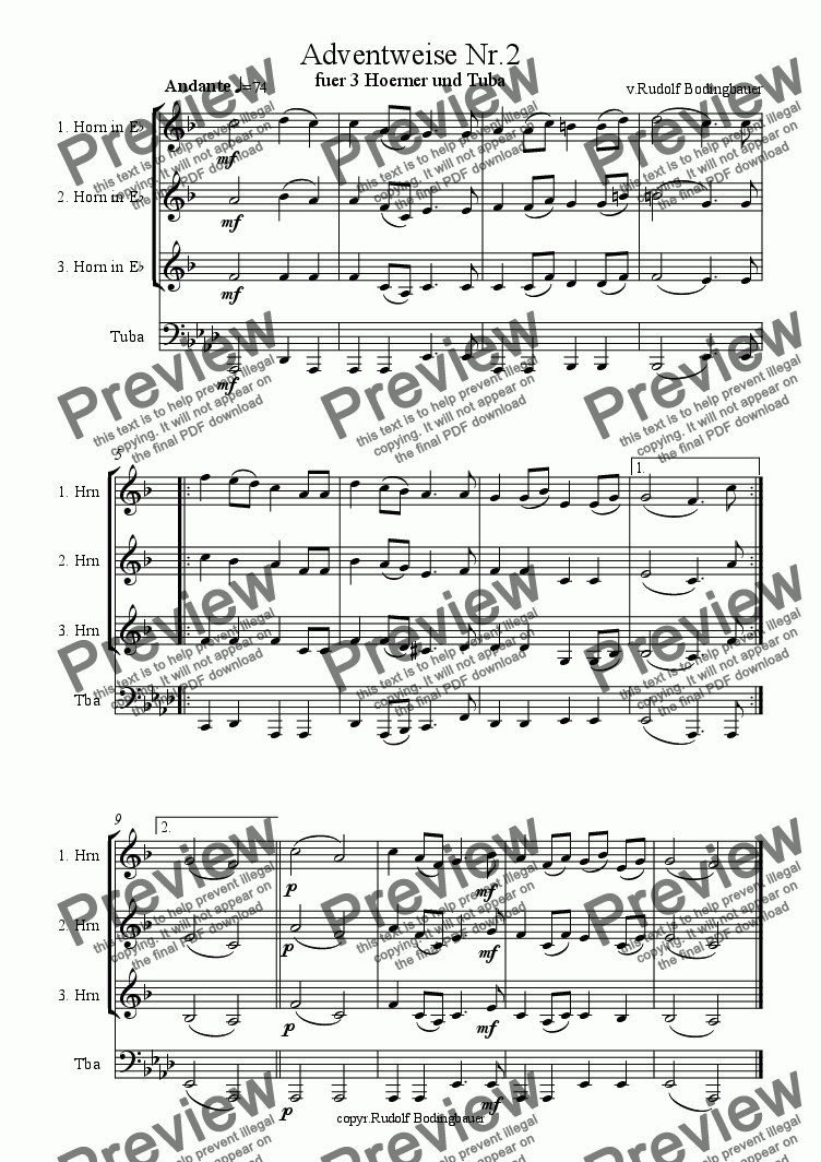 page one of Adventweise Nr. 2 fuer 3 Hoerner un Tuba