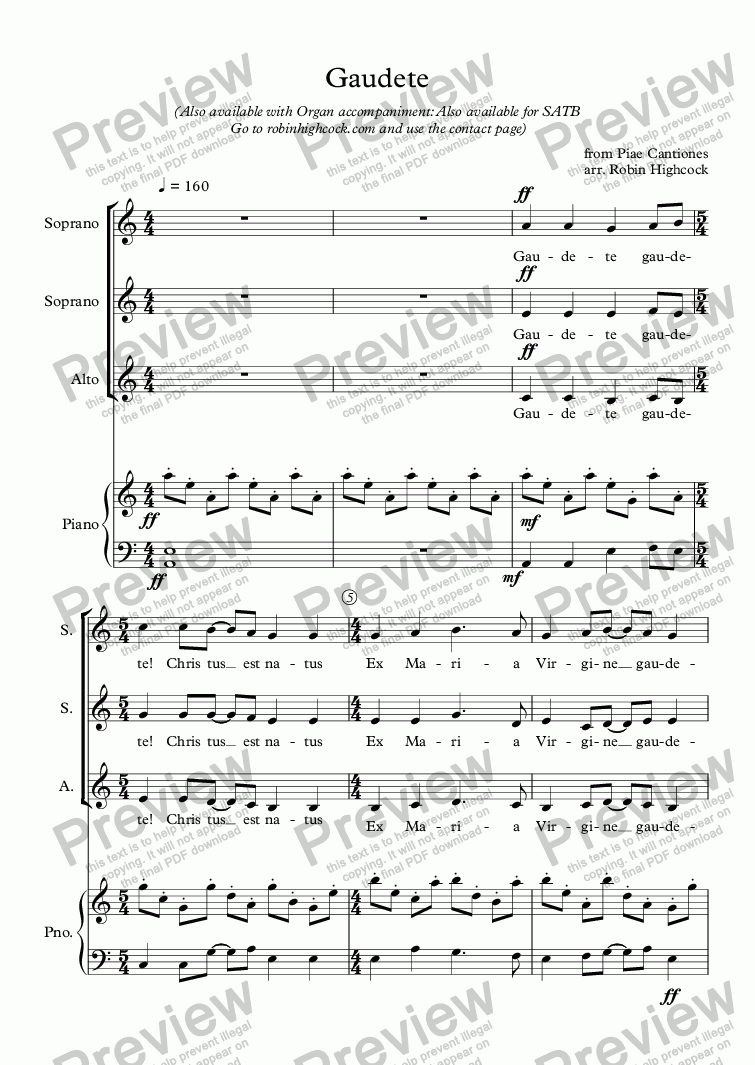 page one of Gaudete SSA Version