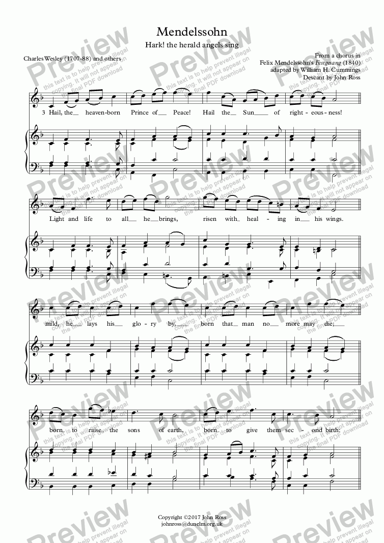 page one of Mendelssohn (Hark! the herald angels sing) - Descant