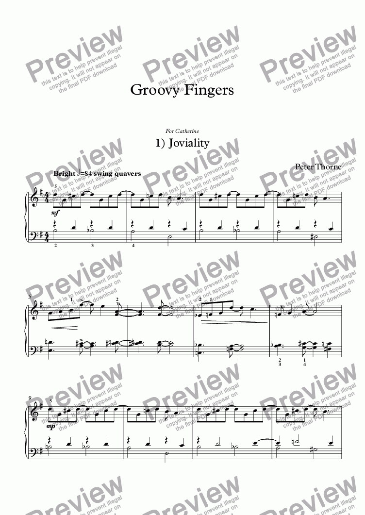 page one of Groovy Fingers  12 short piano pieces
