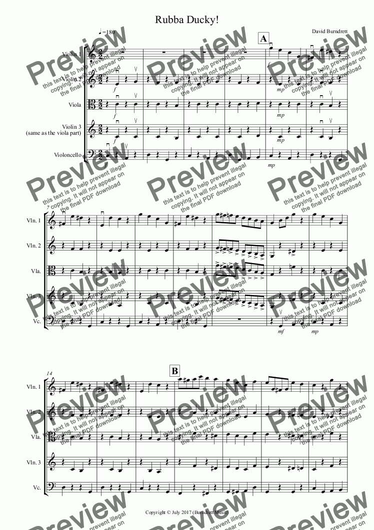 page one of Rubba Ducky! for String Quartet