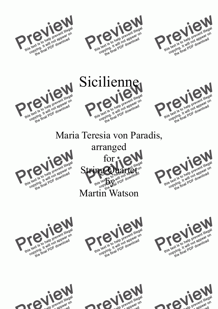 page one of Sicilienne by Maria Teresia von Paradis arranged for String Quartet