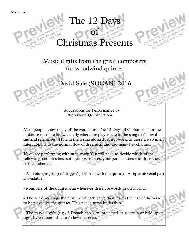 page one of The 12 Days of Christmas Presents (wind quintet)ASALTTEXT
