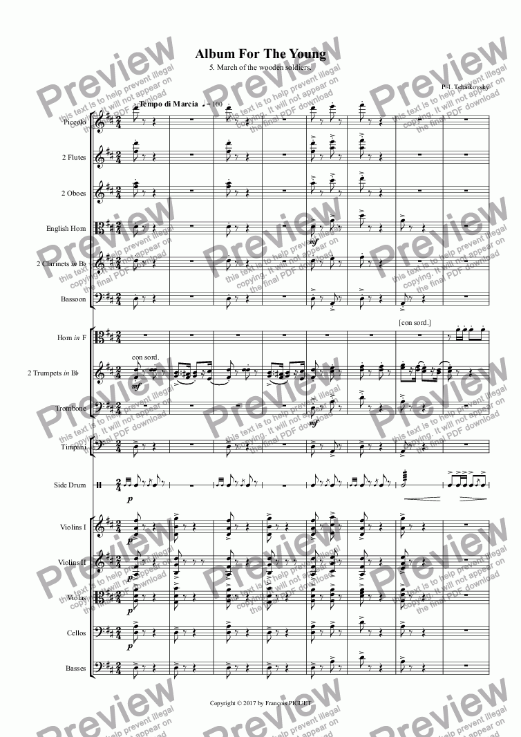 page one of TCHAIKOVSKI: Album For The Young / 5. March  of  the  wooden  soldiersASALTTEXT