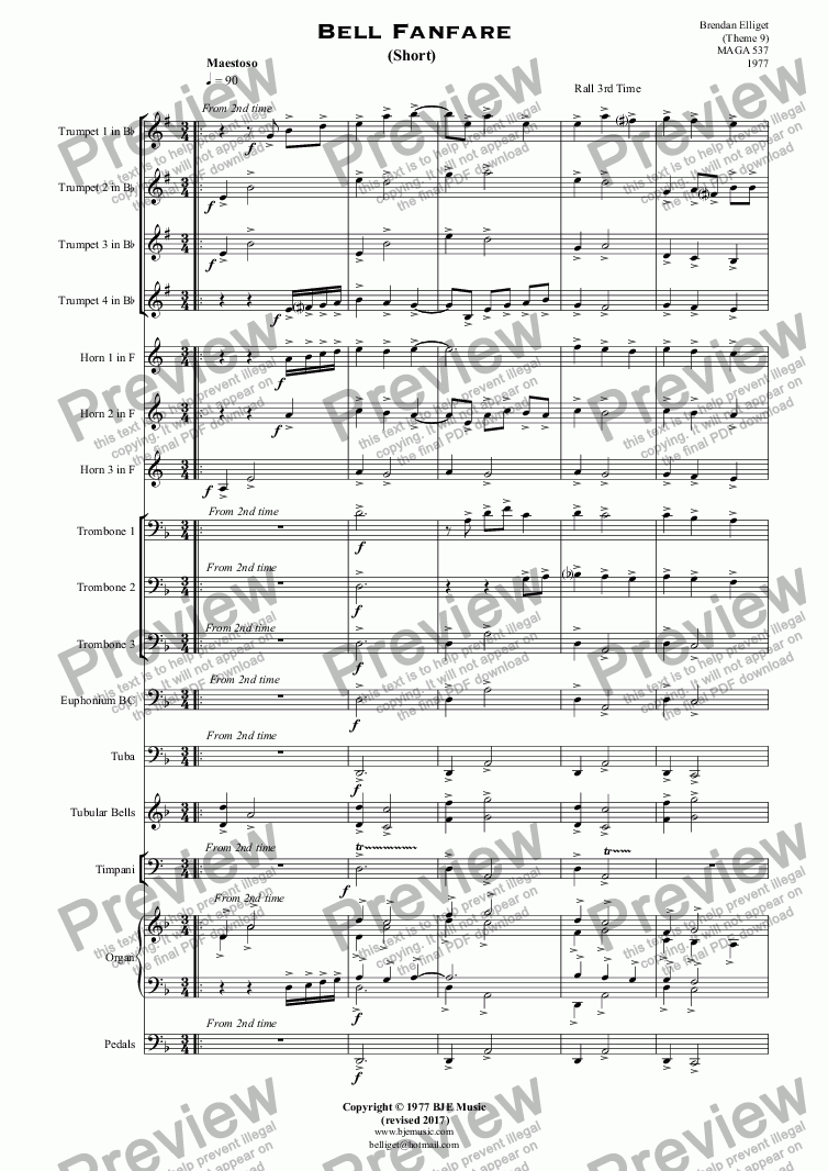 page one of Bell Fanfare  (Short) - Brass Group, Tubular Bells, Organ and Percussion