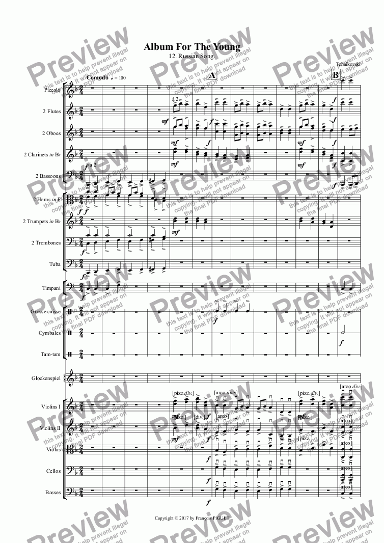 page one of TCHAIKOVSKI: Album For The Young / 12. Russian Song.ASALTTEXT