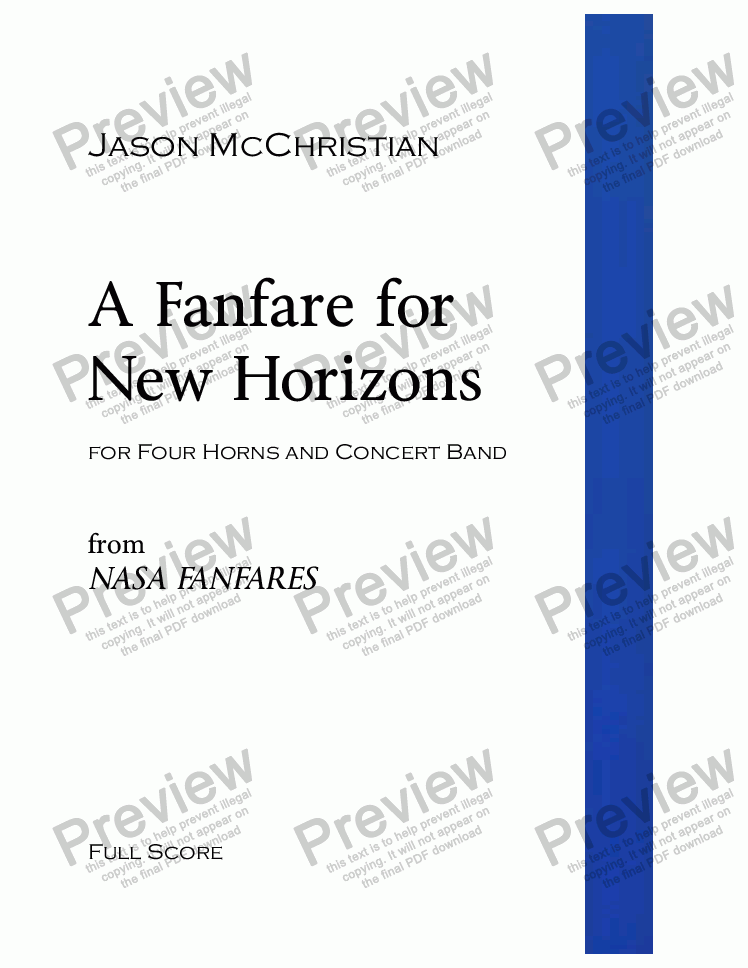 page one of A Fanfare for New Horizons - for Four Horns and Concert Band - Full Score and Parts