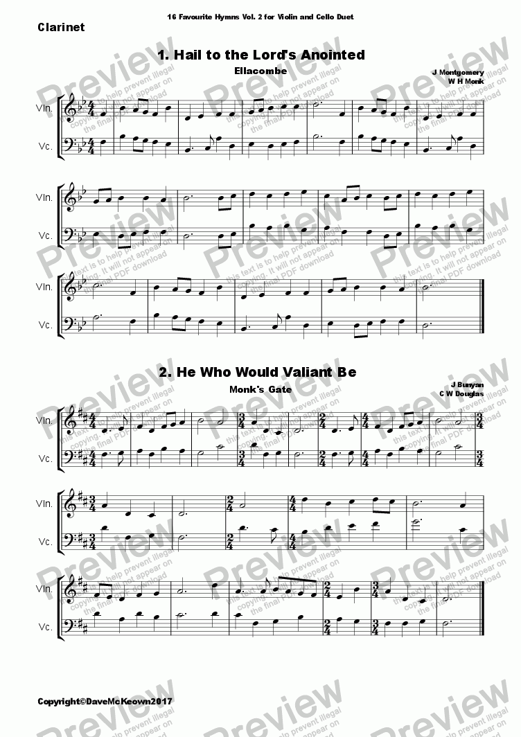 16 Favourite Hymns Vol 2 for Violin and Cello Duet for Duet of Violoncellos  by Various - Sheet Music PDF file to download