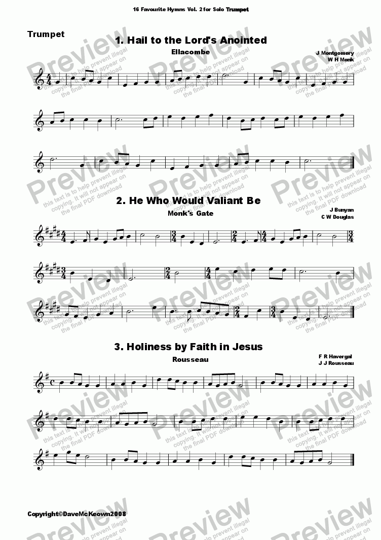 page one of 16 Favourite Hymns Vol.2 for solo Trumpet and Piano