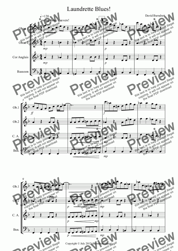 page one of Laundrette Blues! for Double Reed Quartet