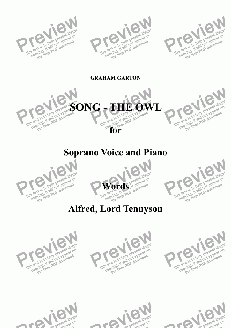 page one of SONG - THE OWL for Soprano Voice and Piano. Words: Alfred, Lord Tennyson