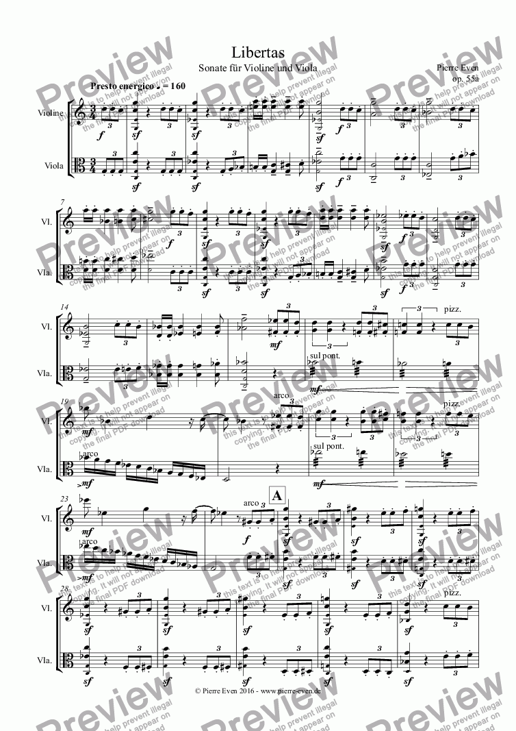 "page one of ""Libertas"" - Sonata for Violin and Viola op. 55a"
