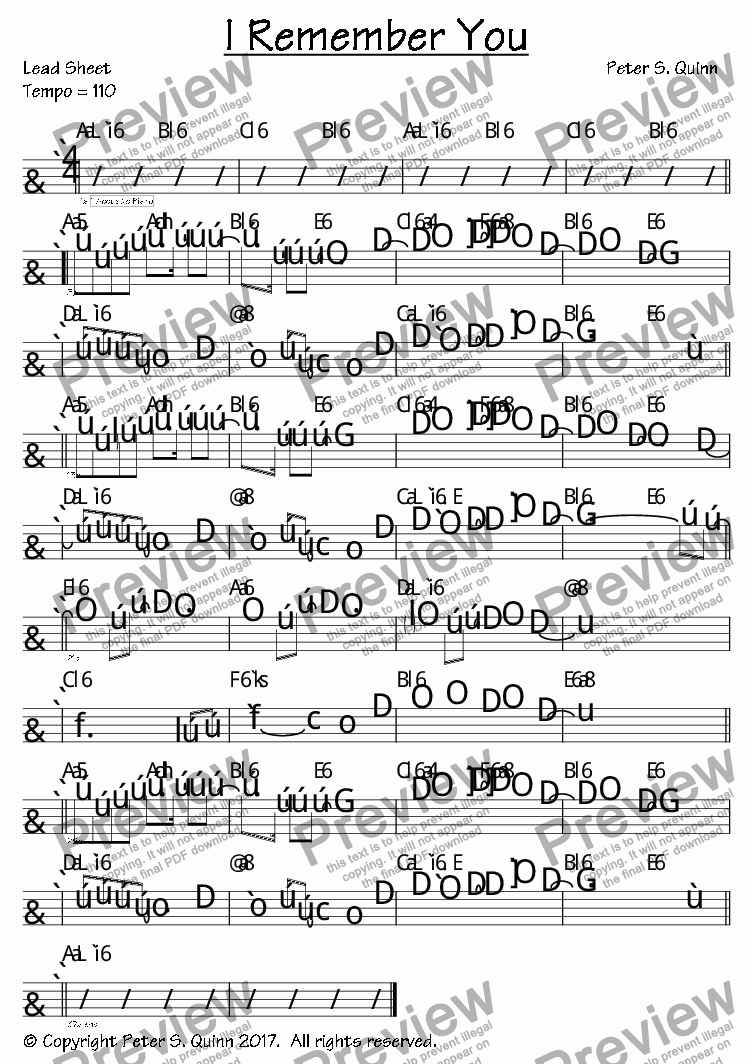I Remember You by Peter S  Quinn - Sheet Music PDF file to download
