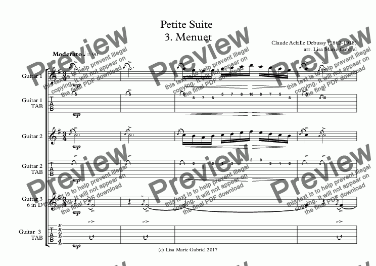 page one of Petite Suite  3. Menuet Guitar Trio with TAB