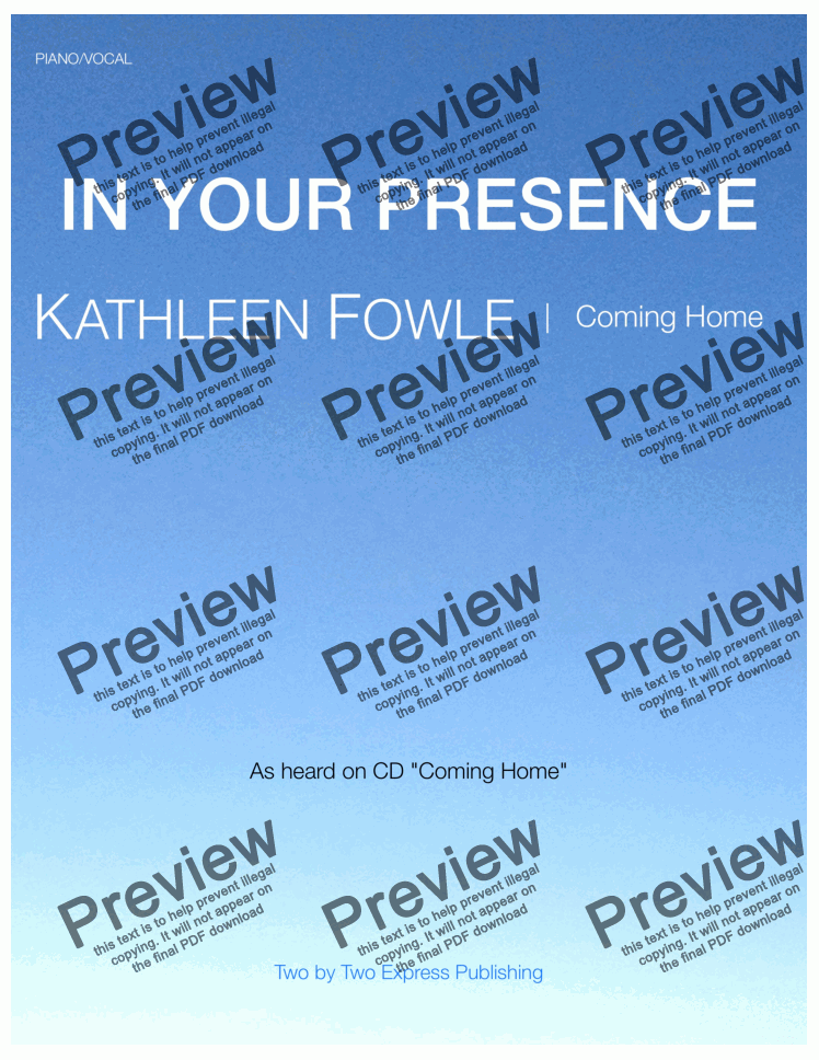 page one of In Your Presence