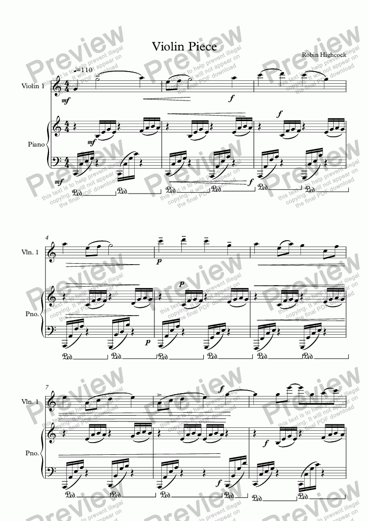 page one of Violin Piece