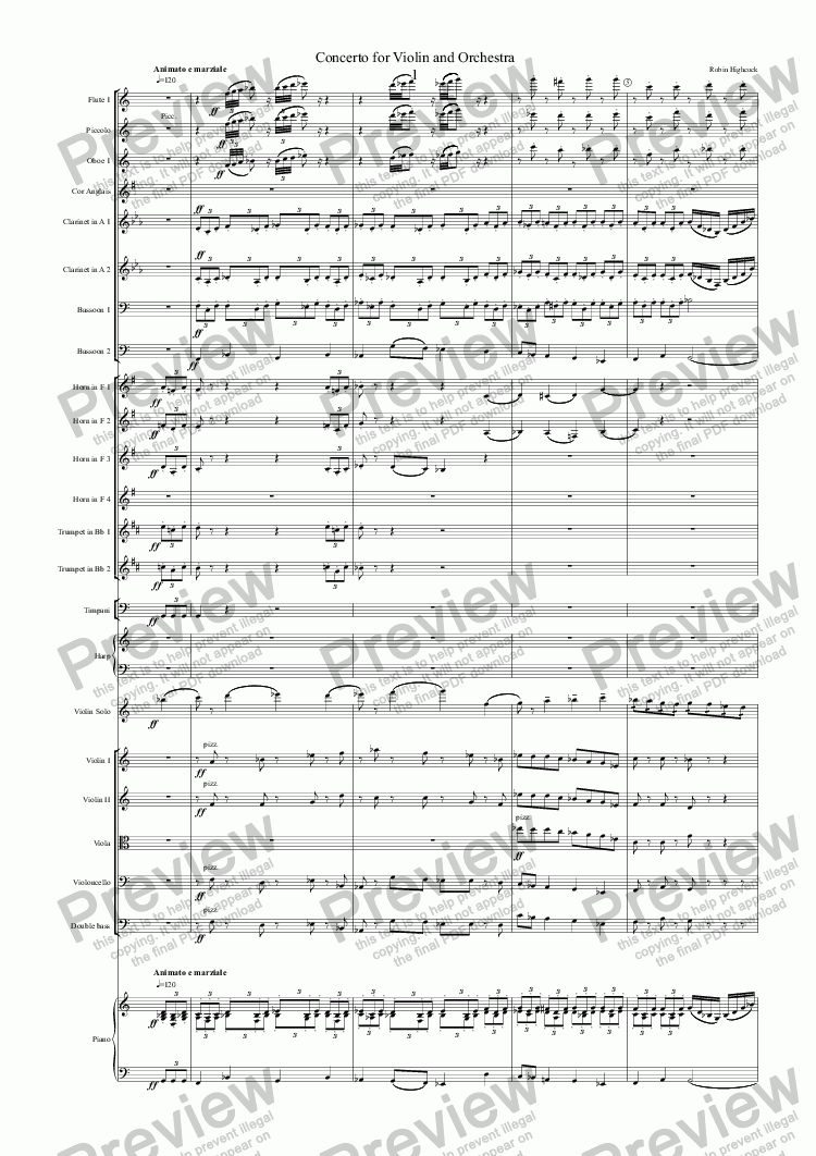 page one of Concerto for Violin and Orchestra