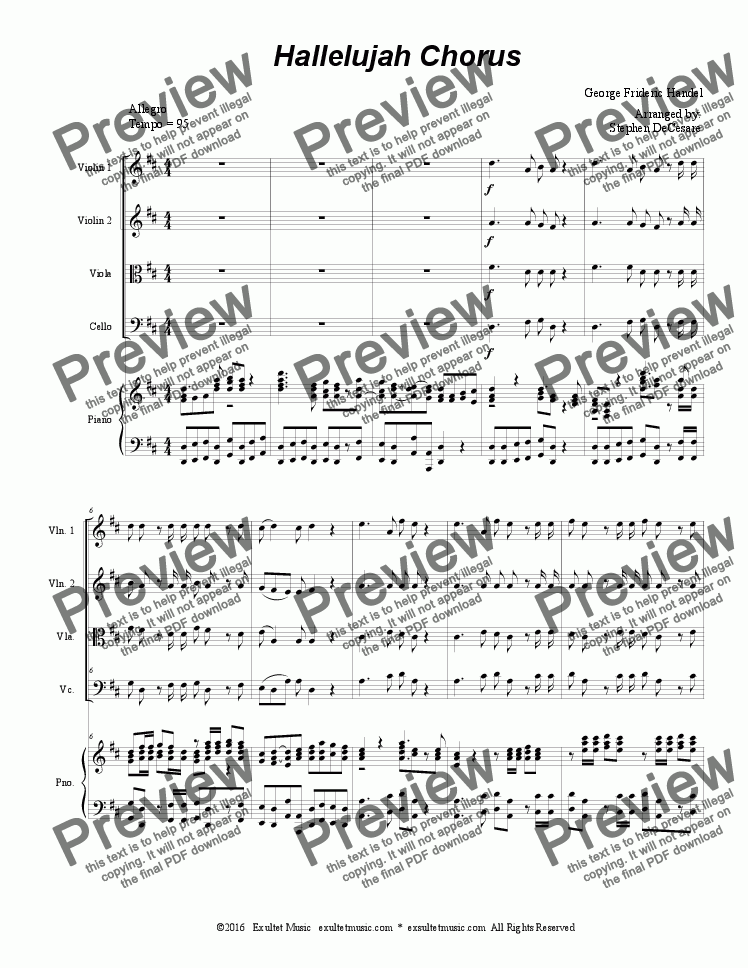 page one of Hallelujah Chorus (for String Quartet)