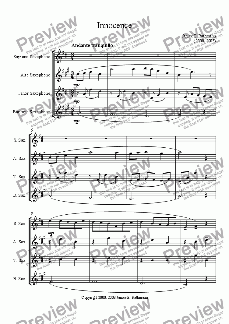 page one of Innocence (Saxophone Quartet)