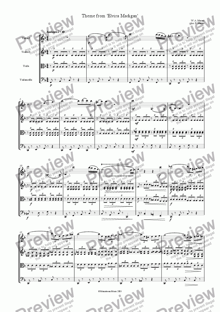 page one of Theme from 'Elvira Madigan'