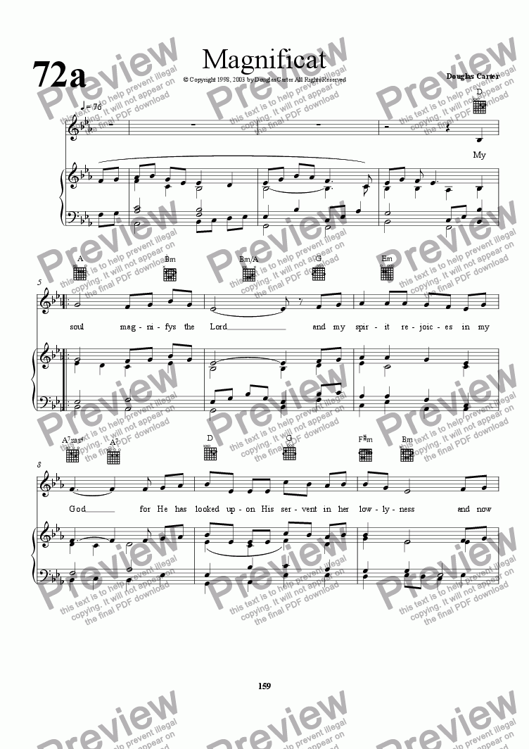 page one of Magnificat (Keyboard and Vocal)