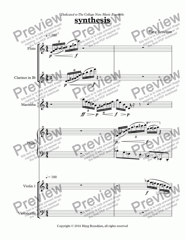 Synthesis Flute Clarinet Marimba Percussion Piano Violin Cello