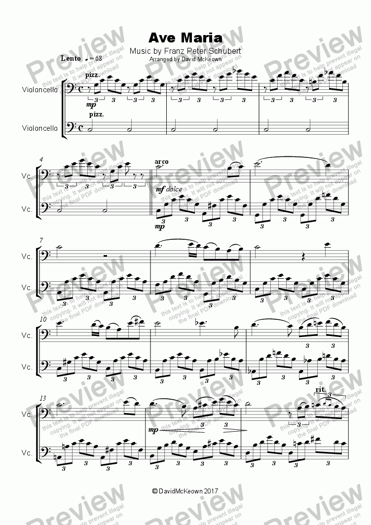 page one of Ave Maria by Franz Schubert, Duet for two Cellos
