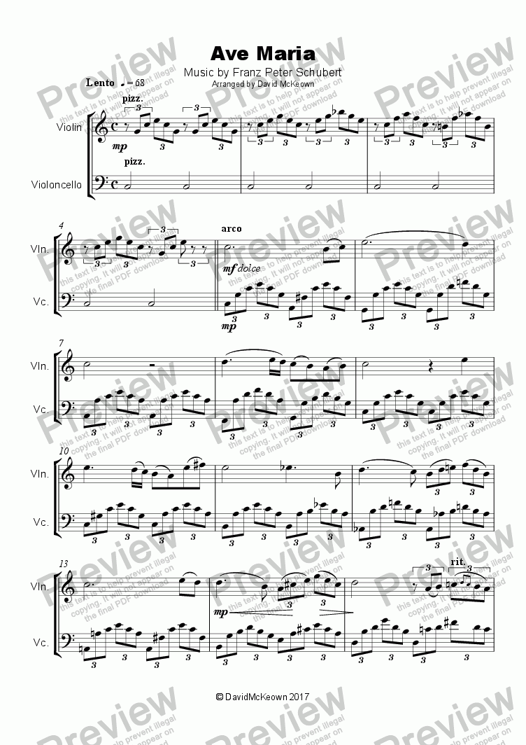 Ave Maria by Franz Schubert, Duet for Violin and Cello for Duet of Solo  Violins by Franz Schubert - Sheet Music PDF file to download
