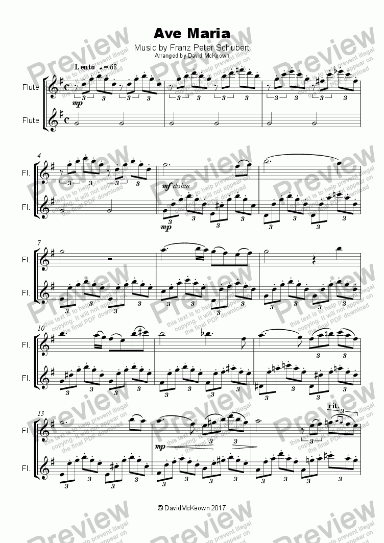 page one of Ave Maria by Franz Schubert, Duet for two Flutes